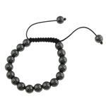 Hematite Shamballa Bracelet, wax cord with shining hematite beads, 10mm, Sold per 7.5 Inch- Strand