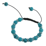 Turquoise Shamballa Bracelets, Natural Turquoise, with Wax & Brass, Skull, with rhinestone, blue, 10mm, Sold Per 7 Inch Strand