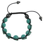 Gemstone Shamballa Bracelets, Natural Turquoise, with Wax & Non-magnetic Hematite, Skull, 16x17mm, Sold Per 7.5 Inch Strand