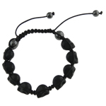 Gemstone Shamballa Bracelets, Natural Turquoise, with Wax & Non-magnetic Hematite, Skull, black, 16x17mm, Sold Per 8 Inch Strand