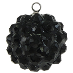 Resin Pendant, Round, black, 16mm, Hole:Approx 1mm, 50PCs/Bag, Sold By Bag