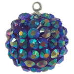 Resin Pendant, Round, blue, 20mm, Hole:Approx 1mm, 50PCs/Bag, Sold By Bag