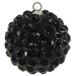 Resin Pendant, Round, black, 20mm, Hole:Approx 1mm, 50PCs/Bag, Sold By Bag