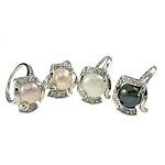 Pierścień z perłami słodkowodnymi, Perła naturalna słodkowodna, ze Mosiądz, mieszane kolory, 18x20mm, sprzedane przez PC