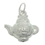 925 Sterling Silver Pendant, Teapot, 12.80x13.40x5.90mm, Hole:Approx 4mm, 3PCs/Bag, Sold By Bag