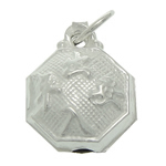 925 Sterling Silver Pendant, Octagon, 8.40x10.80x4.80mm, Hole:Approx 3.3mm, 5PCs/Bag, Sold By Bag