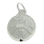 925 Sterling Silver Pendant, Flat Round, 9.20x5.20mm, Hole:Approx 3.5mm, 5PCs/Bag, Sold By Bag