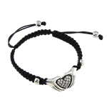 Fashion Shamballa Bracelet, wax cord with rhinestone zinc alloy beads, hand with heart shape design, nickel, lead &amp; cadmium free, 34x16mm, Sold per 7.5 Inch- Strand