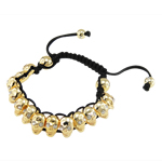 Fashion Shamballa Bracelet, wax cord with rhinestone zinc alloy skull beads, nickel, lead &amp; cadmium free, 8x13mm, Sold per 7.5 Inch- Strand