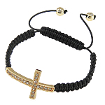 Fashion Shamballa Bracelet, wax cord &amp; rhinestone zinc alloy beads, cross design, nickel, lead &amp; cadmium free, 21x38mm, Sold per 7.5 Inch- Strand
