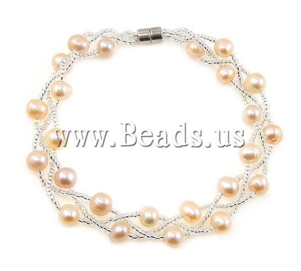 Pulseras de Perlas Freshwater, Perlas cultivadas de agua dulce, con Vidrio, latón cierre magnético, 5,6mm, Vendido para aproximado 7.5 Inch Sarta,Abalorios