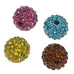Metà Forato Perline strass, argilla pavimenta, Cerchio, con 130 pezzi di strass & mezzo foro, colori misti, 14mm, Foro:Appross. 1mm, 10PC/borsa, Venduto da borsa