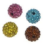 Half Drilled Rhinestone Beads, Clay Pave, Round, with 130 pcs rhinestone & with Mideast rhinestone & half-drilled, mixed colors, 14mm, Hole:Approx 1mm, 10PCs/Bag, Sold By Bag