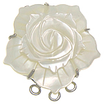 Shell Box Clasp, White Shell, with Brass, Flower, platinum color plated, 3-strand, white, 33x33x10mm, Hole:Approx 2.5mm, Sold By PC
