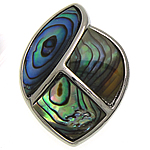 Naturalne wisiorki z muszli, Muszla Abalone, ze Mosiądz, Łezka, Platerowane w kolorze platyny, 22x28.50x4mm, otwór:około 7x4mm, sprzedane przez PC