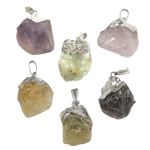 Natural Gemstone Pendant, mixed color, 33-35mm, Hole:Approx 3.5x6mm , 5pcs/Bag , Sold by Bag