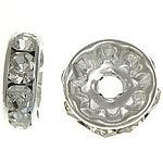 Rhinestone Spacers, with Brass, Donut, silver color plated, 10x10x3.80mm, Hole:Approx 2.2mm, 500PCs/Bag, Sold By Bag