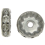 Rhinestone Spacers, Brass, Rondelle, platinum color plated, with rhinestone, 12x12x3.60mm, Hole:Approx 2mm, 500PCs/Bag, Sold By Bag