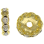 Rhinestone Spacers, Brass, Rondelle, gold color plated, with rhinestone, nickel, lead & cadmium free, 12x12x3.40mm, Hole:Approx 2.5mm, 500PCs/Bag, Sold By Bag