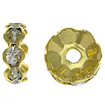 Rhinestone Spacers, Brass, Rondelle, gold color plated, with rhinestone, nickel, lead & cadmium free, 10x10x4mm, Hole:Approx 2.3mm, 500PCs/Bag, Sold By Bag