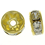Rhinestone Spacers, Brass, Rondelle, gold color plated, with rhinestone, nickel, lead & cadmium free, 8x8x3.50mm, Hole:Approx 1.8mm, 500PCs/Bag, Sold By Bag