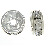 Rhinestone Spacers, with Brass, Donut, silver color plated, 8x8x3.50mm, Hole:Approx 1.8mm, 500PCs/Bag, Sold By Bag