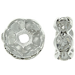 Rhinestone Spacers, with Brass, Donut, silver color plated, 8x8x3.50mm, Hole:Approx 1.5mm, 500PCs/Bag, Sold By Bag
