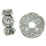 Rhinestone Spacers, with Brass, Donut, silver color plated, 7x7x3.40mm, Hole:Approx 1.6mm, 500PCs/Bag, Sold By Bag