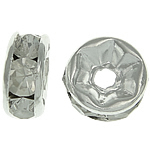 Rhinestone Spacers, with Brass, Donut, silver color plated, 6x6x2.80mm, Hole:Approx 1.5mm, 500PCs/Bag, Sold By Bag