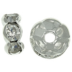 Rhinestone Spacers, Brass, Rondelle, silver color plated, with A grade rhinestone, nickel, lead & cadmium free, 5x5x2.50mm, Hole:Approx 1.2mm, 500PCs/Bag, Sold By Bag