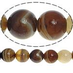 الطبيعية الخرز العقيق الرباط, الدانتيل العقيق, جولة, لون القهوة عميق, 8mm, حفرة:تقريبا 0.8-1mm, طول:تقريبا 15.5 بوصة, 5جدائل/الكثير, تباع بواسطة الكثير