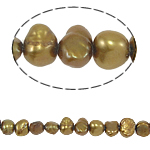 Baroque Cultured Freshwater Pearl Beads, yellow, 4-5mm, Hole:Approx 0.8mm, Sold Per 15 Inch Strand