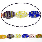 Millefiori Glass Beads, Oval, mixed colors, 8x16mm, Length:15 Inch, 10Strands/Lot, Sold By Lot