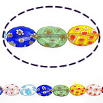 Millefiori Glass Beads, Oval, mixed colors, 14x10x4mm, Length:15 Inch, 10Strands/Lot, Sold By Lot