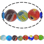 Millefiori Glass Beads, Round, mixed colors, 6mm, Length:15 Inch, 10Strands/Lot, Sold By Lot