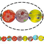 Millefiori Glass Beads, Flat Round, mixed colors, 14x3mm, Length:14.5 Inch, 10Strands/Lot, Sold By Lot