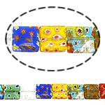 Millefiori Glass Beads, Rectangle, mixed colors, 10x10x3.50mm, Length:16 Inch, 10Strands/Lot, Sold By Lot