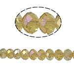 Rondelle Crystal Beads, imitation CRYSTALLIZED™ element crystal, Lt Topaz, 6x8mm, Hole:Approx 1mm, Length:15 Inch, 10Strands/Bag, Sold By Bag