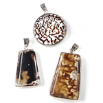 Agate Jewelry Pendants, Ice Flower Agate, with Brass, platinum color plated, mixed, 29-38mm, Hole:Approx 7x4.5mm, 5PCs/Bag, Sold By Bag
