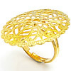 Brass Filigree Ring Base gold color plated adjustable   hollow lead   cadmium free 23.20x30mm US Ring Size:6.5 200PCs/Bag
