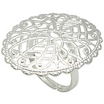 Brass Filigree Ring Base silver color plated adjustable   hollow lead   cadmium free 23.30x30mm US Ring Size:7.5 200PCs/Bag