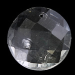 Crystal Pendants, Flat Round, Crystal, 18x7mm, Hole:Approx 1mm, 10PCs/Bag, Sold By Bag
