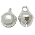 Brass Bell Pendant, silver color plated, lead & cadmium free, 6x8mm, Hole:Approx 1.5mm, 3000PCs/Bag, Sold By Bag