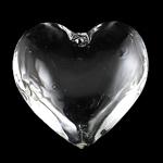 Zawieszki kryształowe, Kryształ, Płaskie serce, kryształowy, 43x15mm, otwór:około 2mm, sprzedane przez PC