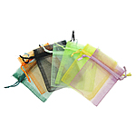 Jewelry Drawstring Bags, Organza, Rectangle, translucent, mixed colors, 70x90mm, 500PCs/Bag, Sold By Bag