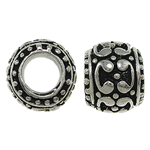 Zinc Alloy European Beads, Drum, antique silver color plated, without troll, nickel, lead & cadmium free, 10x8mm, Hole:Approx 5.5mm, Sold By PC