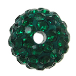 Rhinestone Jewelry Beads, Resin, Round, with rhinestone, green, 10x10mm, Hole:Approx 2mm, 10PCs/Bag, Sold By Bag