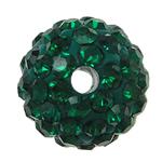 مجوهرات حجر الراين الخرز, الراتنج, جولة, مع حجر الراين, أخضر, 10x10mm, حفرة:تقريبا 2mm, 10أجهزة الكمبيوتر/حقيبة, تباع بواسطة حقيبة