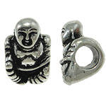 Zinc Alloy European Beads, Buddha, without troll, nickel, lead & cadmium free, 10x14x11mm, Hole:Approx 5mm, 10PCs/Bag, Sold By Bag