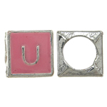 Zinc Alloy European Beads, Cube, without troll & enamel, pink, nickel, lead & cadmium free, 7x7mm, Hole:Approx 5mm, 10PCs/Bag, Sold By Bag